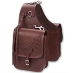 Barefoot Chocolate Leather Saddle Bag with Tooling